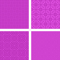 Magenta seamless grid pattern background set