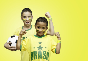 Brazilian fans celebrate on yellow background