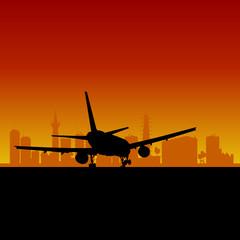 plane lands color vector