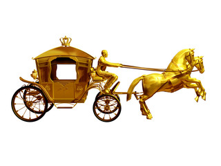 golden carriage with two horses side view