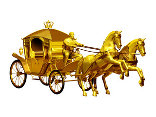 golden carriage with two horses perspective view