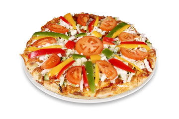 Tasty pizza with vegetables isolated with clipping path