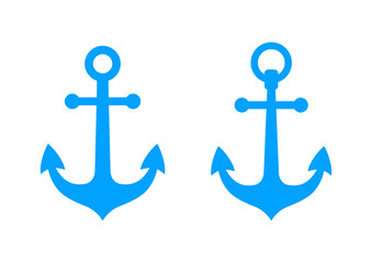 Blue anchors on white background