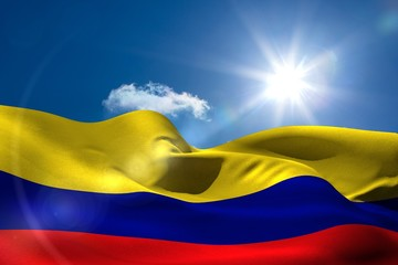Colombia national flag under sunny sky