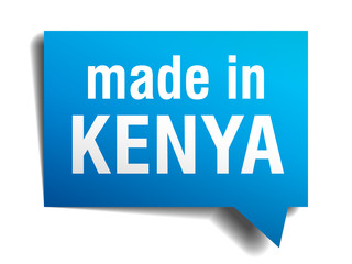 made in Kenya blue 3d realistic speech bubble