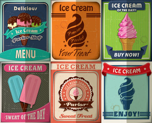 Vintage Ice Cream poster design set