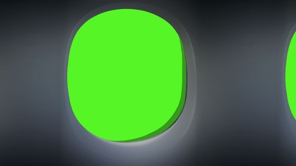 airplane window view animation loop green screen with alpha