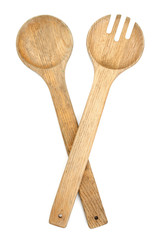 Wood spoons and fork on white background