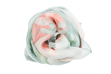 A light blue and white silk scarf associated rose
