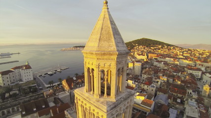 Camera moving  around Church of St. Dominus in Split in Croatia