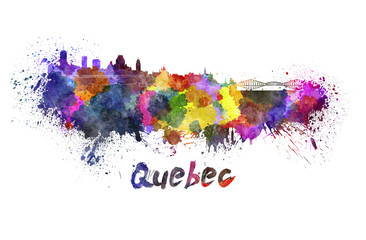 Quebec skyline in watercolor