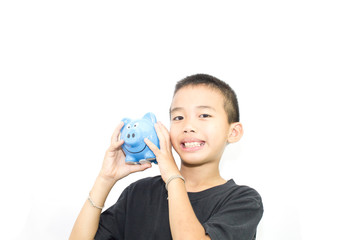 Asian boy with white background activities