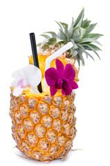 pineapple juice with orchid in fresh fruits