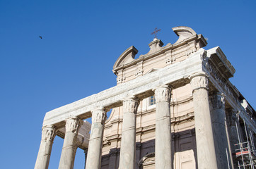 Temple of Cesar in the Foro Romano in Rome