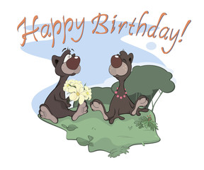 Bears happy birthday postcard