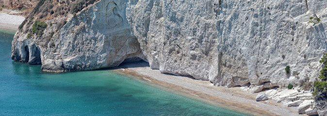 Wild beach in the Gargano.Apulia,Italy.Panorama.