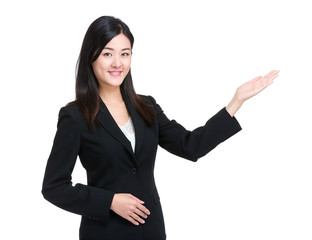 Business woman hand show something