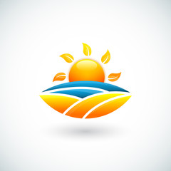 Illustration of sun, sea and beach