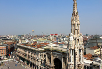 Milan Landscape and Cathedral Statues, Italy