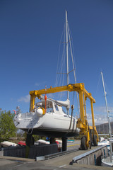 Sailboat being docked
