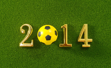 2014 message make of metal numbers and football soccer ball on g