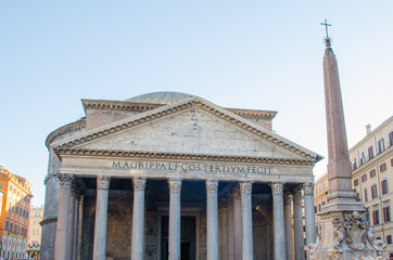 Frontis of the Pantheon of Agripa in Rome, Italy