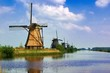 Famous row of Dutch windmills at Kinderdijk, Netherlands