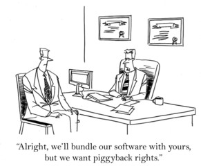 """...we'll bundle our software with yours but ... rights."""