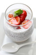coconut chia seed pudding with strawberry