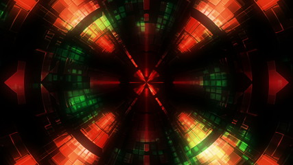 Science Fiction Tunnel Looping Background in red and green