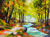 Fototapety oil painting landscape - river in autumn forest