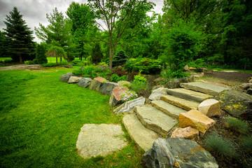 Stone Stairway on a Lush Green Garden Path