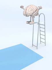 human brain on trampoline dip in the pool
