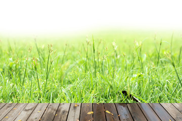 wood textured  on the grass backgrounds