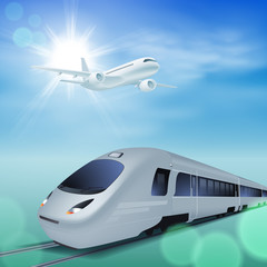 High-speed train and airplane in the sky. Sunny day.