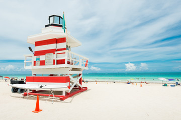 Colorful lifeguard tower in Miami Beach