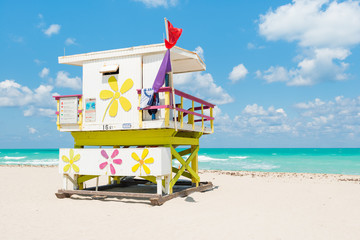 Lifeguard tower in South Beach, Miami