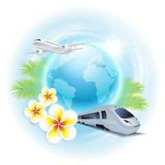 Concept travel illustration with airplane, train, globe, flowers