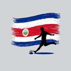Soccer Player action with Republic of Costa Rica flag on backgro
