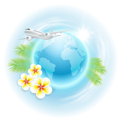 Concept travel illustration with airplane, globe, flowers and pa
