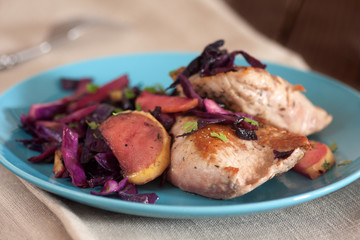 pork tenderloin with apples and cabbage