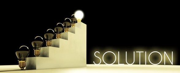 Solution light bulb concept, dark background