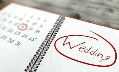 Wedding important day, calendar concept