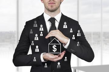 businessman protecting dollar employees