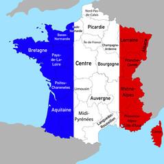 Landkarte von Frankreich mit Provinzen