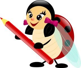 Ladybug with pencil