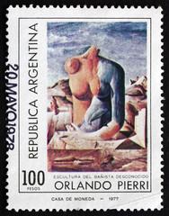 Postage stamp Argentina 1977 Woman's Torso, by Orlando Pierri