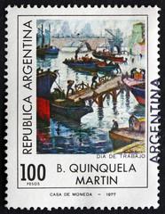 Postage stamp Argentina 1977 Labor Day, by B. Quinquela Martin