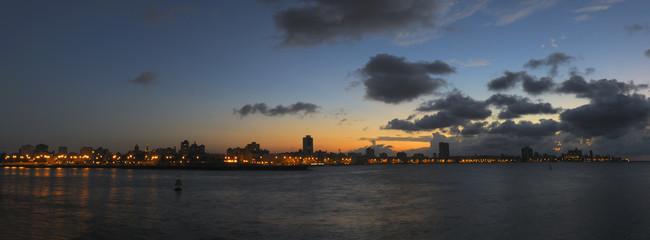 Havana bay skyline at nightfall