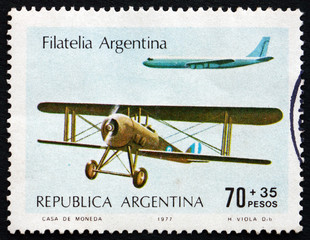 Postage stamp Argentina 1977 Biplane and Jet